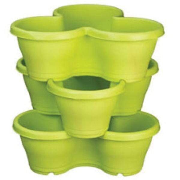 17.3 inch (44 cm) Flower Tower, Plastic Stack Pot (Lime Yellow, 1 Stack) (set of 3) - Nurserylive