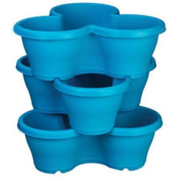 17.3 inch (44 cm) Flower Tower, Plastic Stack Pot (Sky Blue, 1 Stack) (set of 3)