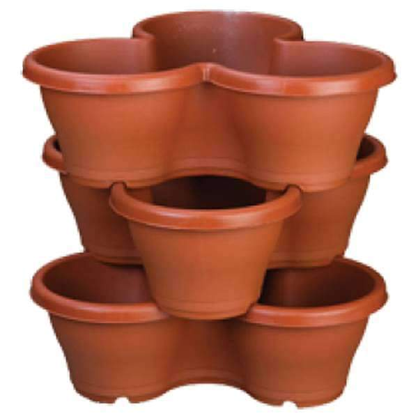 17.3 inch (44 cm) Flower Tower, Plastic Stack Pot (Terracotta Color, 1 Stack) (set of 3)