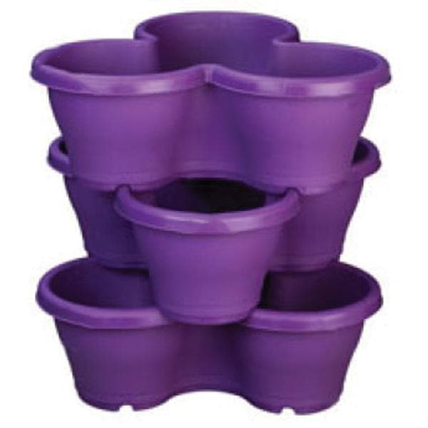 17.3 inch (44 cm) Flower Tower, Plastic Stack Pot (Violet, 1 Stack) (set of 3) - Nurserylive