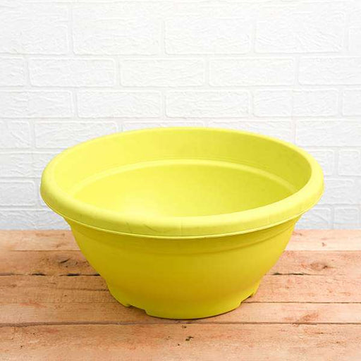 17.7 inch (45 cm) Bowl No. 45 Round Plastic Pot (Lime Yellow) (set of 3) - Nurserylive