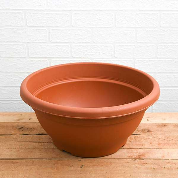 17.7 inch (45 cm) Bowl No. 45 Round Plastic Pot (Terracotta Color) (set of 3)