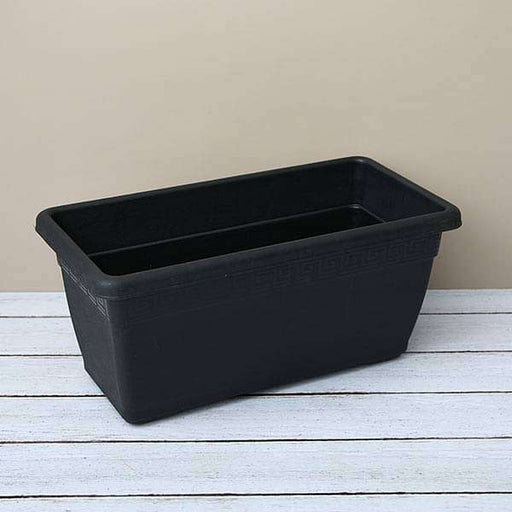 17.7 inch (45 cm) Small Window Rectangle Plastic Pot (Black) (set of 3) - Nurserylive