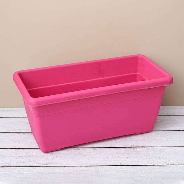17.7 inch (45 cm) Small Window Rectangle Plastic Pot (Dark Pink) (set of 3) - Nurserylive