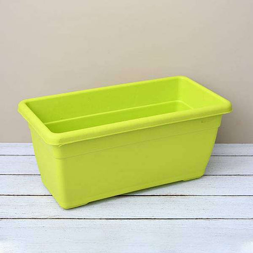 17.7 inch (45 cm) Small Window Rectangle Plastic Pot (Lime Yellow) (set of 3) - Nurserylive