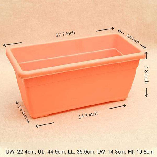 17.7 inch (45 cm) Small Window Rectangle Plastic Pot (Orange) (set of 3) - Nurserylive
