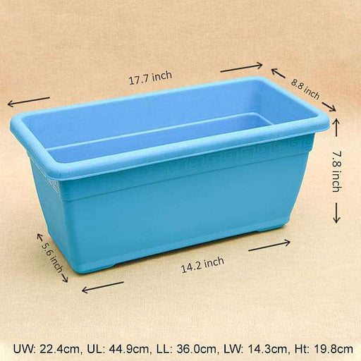 17.7 inch (45 cm) Small Window Rectangle Plastic Pot (Sky Blue) (set of 3) - Nurserylive