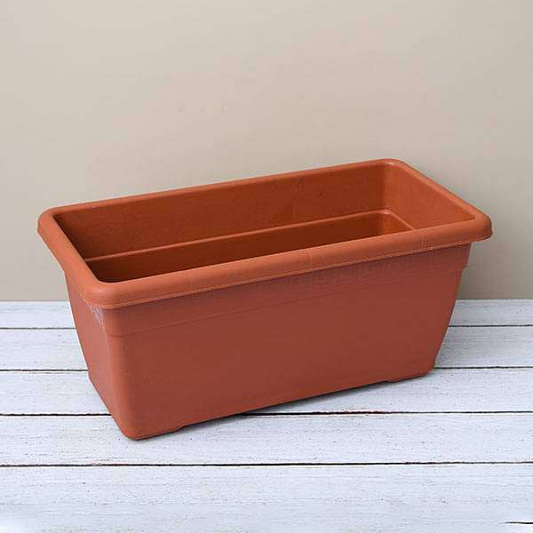17.7 inch (45 cm) Small Window Rectangle Plastic Pot (Terracotta Color) (set of 3) - Nurserylive