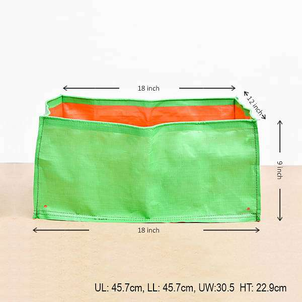 18 inch (46 cm) Rectangle Grow Bag (Green) (set of 2) - Nurserylive