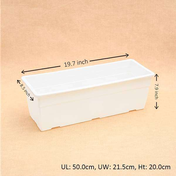 19.6 inch (50 cm) Reca No. 50 Rectangle Plastic Planter (White) - Nurserylive