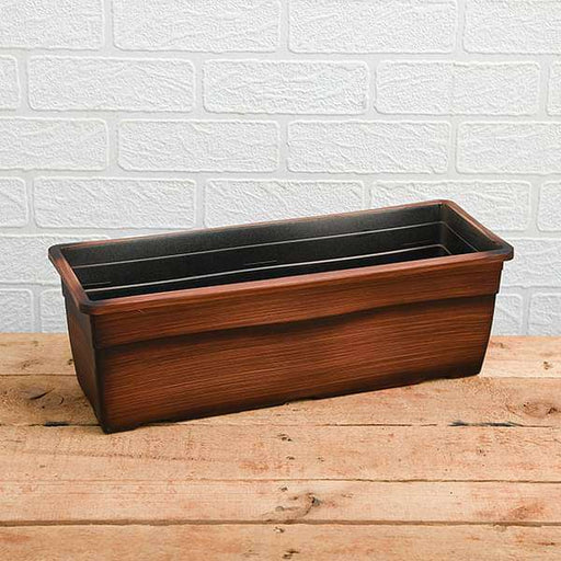 19.6 inch (50 cm) Reca No. 50 Wooden Finish Rectangle Plastic Planter (Brown) - Nurserylive
