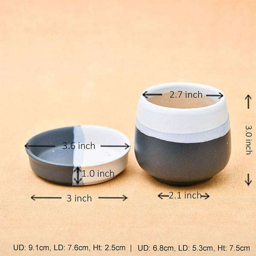 2.7 inch (7 cm) CP040 Jar Shape Round Ceramic Pot with Plate (White, Black) (set of 2) - Nurserylive