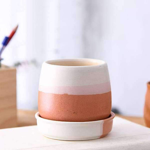 2.8 inch (7 cm) CP009 Jar Shape Round Ceramic Pot With Plate (White, Light Peach) (set of 2) - Nurserylive