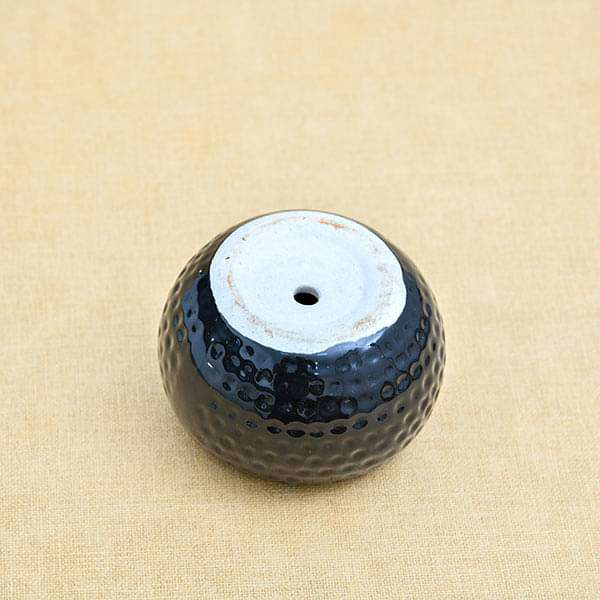 2.8 inch (7 cm) Dot Embossed Round Ceramic Pot (Black) (set of 2) - Nurserylive