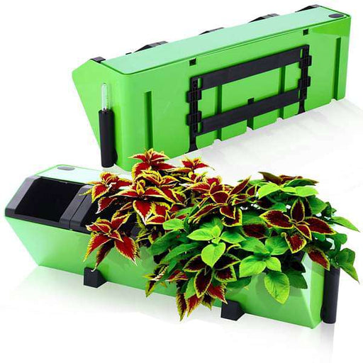 22.4 inch (57 cm) Hydrofall Self Watering Rectangle Plastic Planter Kit (Lime Color) - Nurserylive