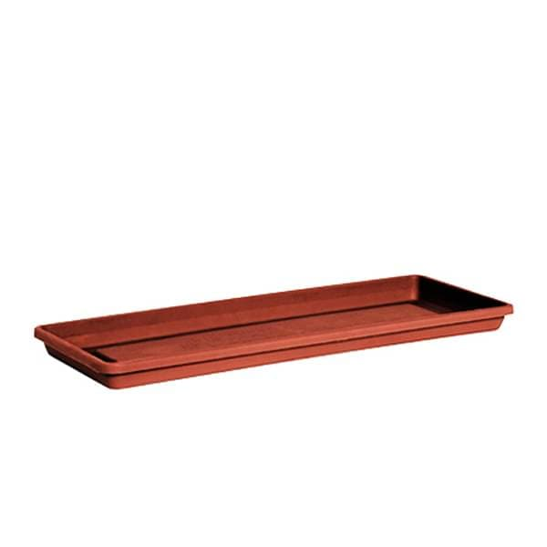 22 inch (56 cm) Rectangle Plastic Plate for 23.6 inch (60 cm) Big Window Pot  (Terracotta Color) - Nurserylive