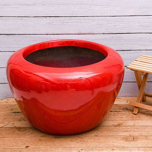 22 inch (56 cm) RND-3 Apple Round Fiberglass Planter (Red) - Nurserylive