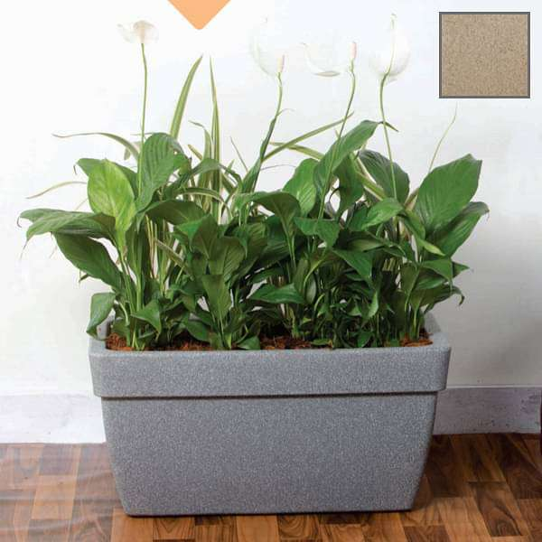 23.6 inch (60 cm) Barca No. 60 Stone Finish Rectangle Rotomoulded Plastic Planter With Wheels (Sand Color) - Nurserylive