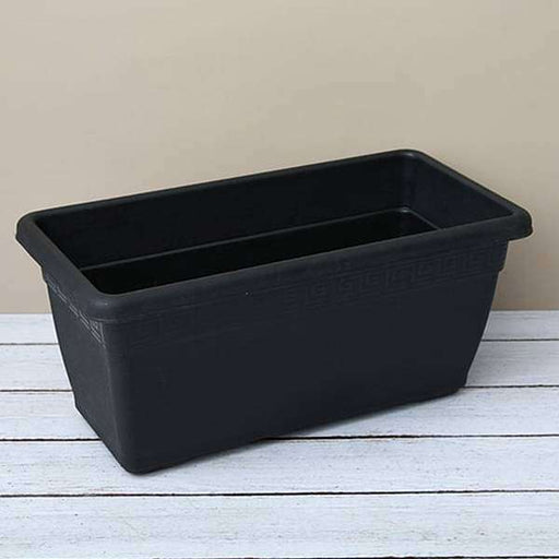 23.6 inch (60 cm) Big Window Rectangle Plastic Pot (Black) - Nurserylive
