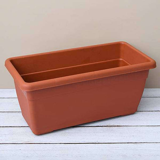 23.6 inch (60 cm) Big Window Rectangle Plastic Pot (Terracotta Color) - Nurserylive