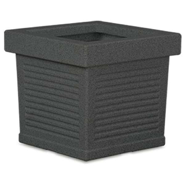 23.6 inch (60 cm) Cubo No. 60 Stone Finish Square Rotomoulded Plastic Planter (Grey) - Nurserylive