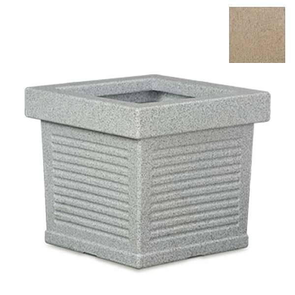 23.6 inch (60 cm) Cubo No. 60 Stone Finish Square Rotomoulded Plastic Planter (Sand Color) - Nurserylive
