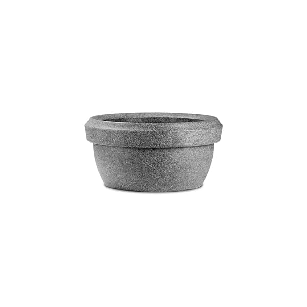 23.6 inch (60 cm) Lotus Bowl No. 60 Stone Finish Round Rotomoulded Plastic Planter (Grey) - Nurserylive