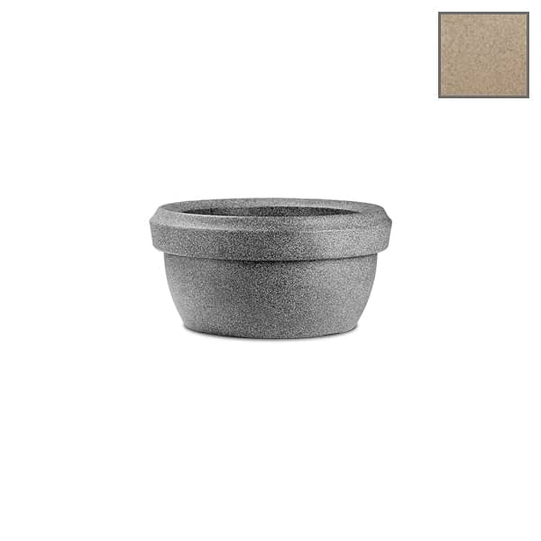 23.6 inch (60 cm) Lotus Bowl No. 60 Stone Finish Round Rotomoulded Plastic Planter (Sand Color) - Nurserylive