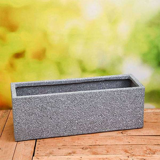 27 inch (69 cm) OTH-15 Stone Finish Rectangle Fiberglass Planter (Grey) - Nurserylive