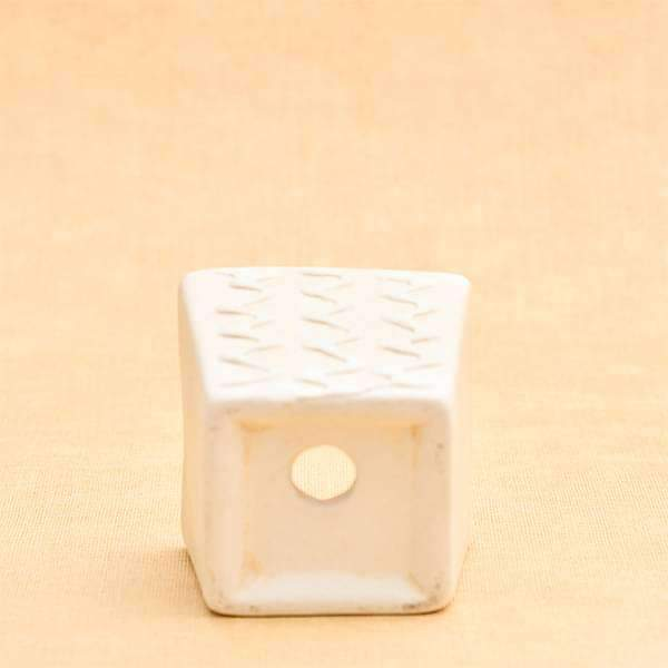 3.1 inch (8 cm) CP007 Embossed Square Cone Ceramic Pot With Plate  (Beige) (set of 2) - Nurserylive