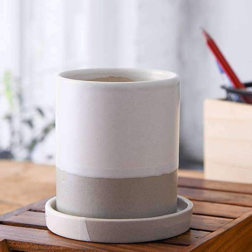 3.1 inch (8 cm) CP043 Cylindrical Ceramic Pot with Plate (White, Grey) (set of 2) - Nurserylive