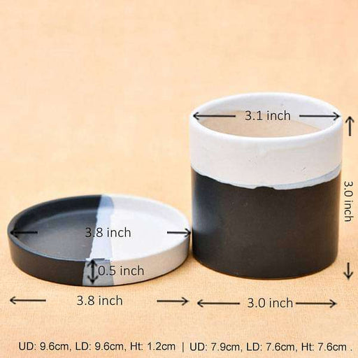 3.1 inch (8 cm) CP045 Cylindrical Ceramic Pot with Plate (White, Black) (set of 2) - Nurserylive