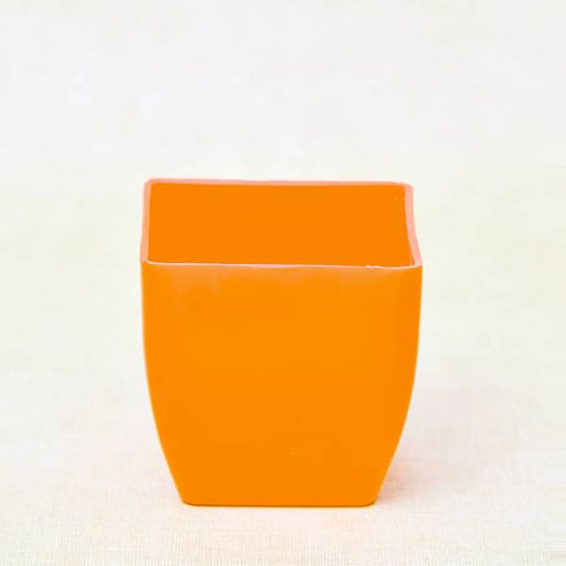 3.1 inch (8 cm) Square Plastic Planter with Rounded Edges (Orange) (set of 6) - Nurserylive