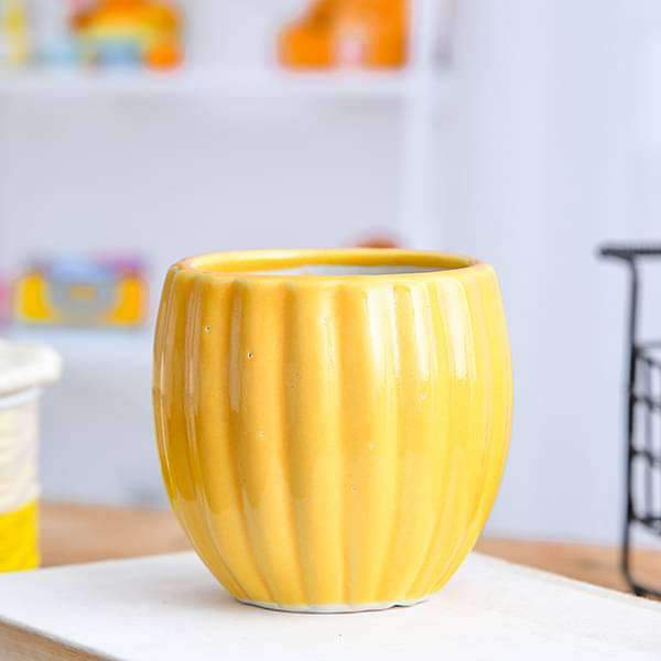 3.1 inch (8 cm) Vertical Ridges Pattern Round Ceramic Pot (Yellow) (set of 2) - Nurserylive