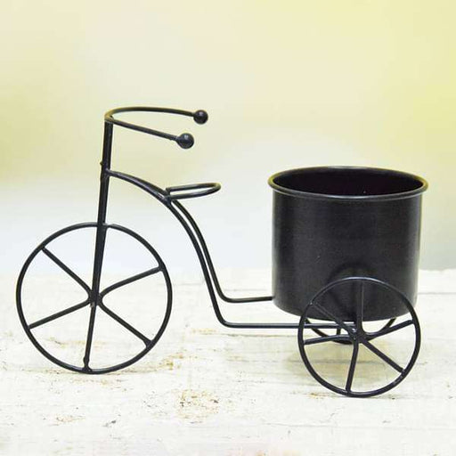 3.5 inch (9 cm) Cycle Metal Round Planter  (Black) - Nurserylive