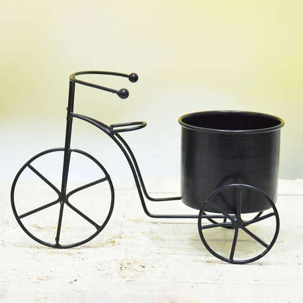 3.5 inch (9 cm) Cycle Metal Round Planter  (Black)
