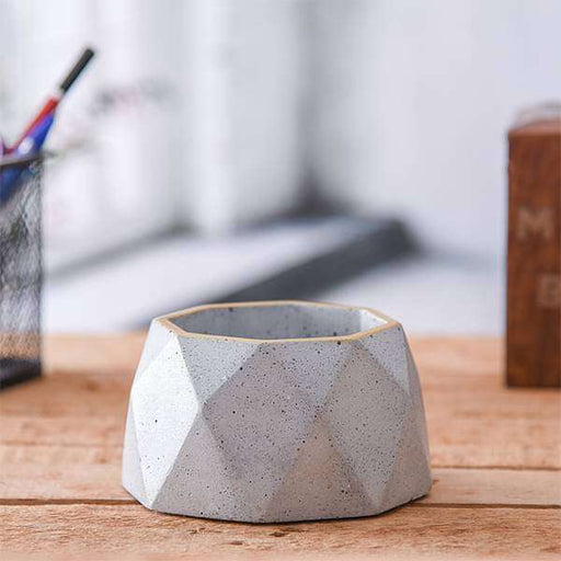 3.5 inch (9 cm) Diamante Concrete Pot (Rustic Grey) - Nurserylive