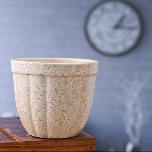 3.6 inch (9 cm) Vertical Ridges Marble Finish Round Ceramic Pot with Rim  (Light Brown) (set of 2) - Nurserylive