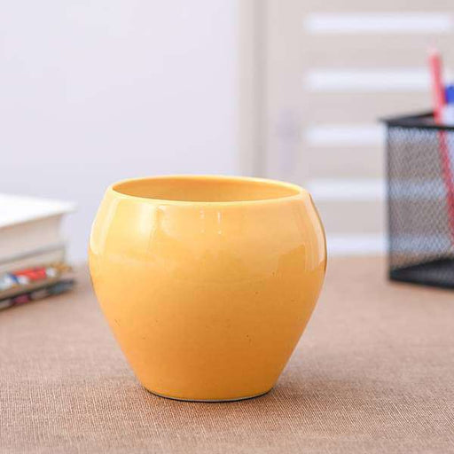 3.7 inch (9 cm) Apple Round Ceramic Pot (Yellow) (set of 2) - Nurserylive