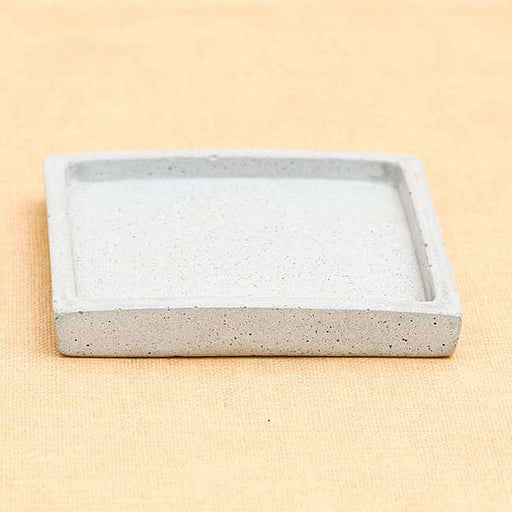 3.9 inch (10 cm) Square Concrete Plate for 3 inch (8 cm) Square Faced Concrete Pot (Rustic Grey) - Nurserylive