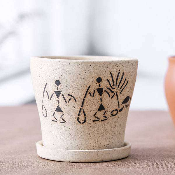 3.9 inch (10 cm) Warli Painting Marble Finish Round Ceramic Pot with Attached Plate (Light Brown) (set of 2) - Nurserylive