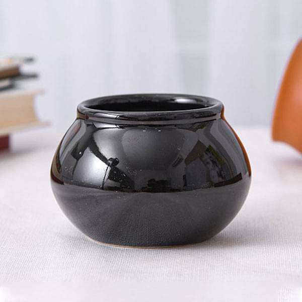 3 inch (8 cm) Handi Shape Round Ceramic Pot (Black) (set of 3) - Nurserylive