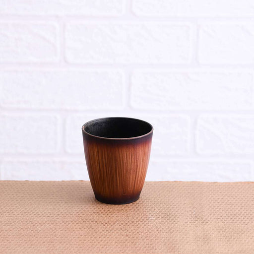 3 inch (8 cm) Mini Ronda Wooden Finish Round Plastic Pot (Brown) (set of 6) - Nurserylive