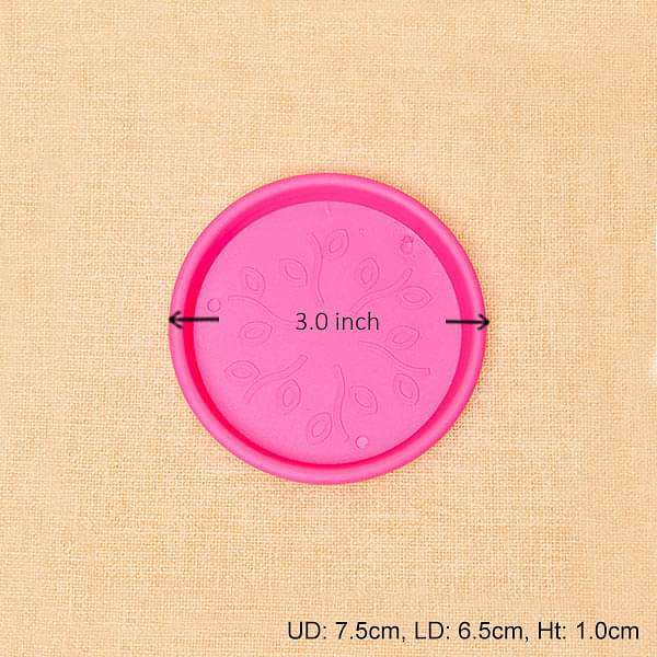 3 inch (8 cm) Round Plastic Plate for 3 inch (8 cm) Grower Pots  (Dark Pink) (set of 6)