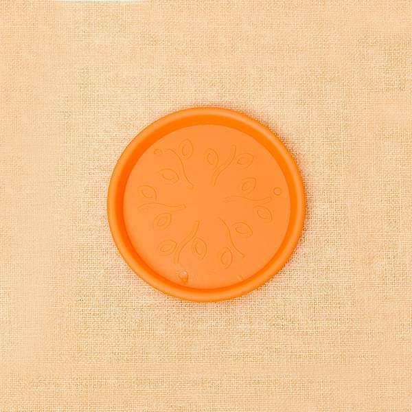 3 inch (8 cm) Round Plastic Plate for 3 inch (8 cm) Grower Pots  (Orange) (set of 6)