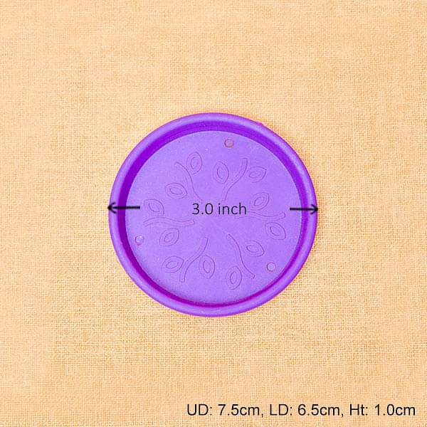 3 inch (8 cm) Round Plastic Plate for 3 inch (8 cm) Grower Pots  (Violet) (set of 6)