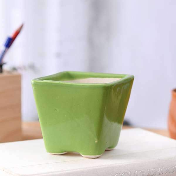3 inch (8 cm) Square Cone Ceramic Pot (Green) (set of 3) - Nurserylive
