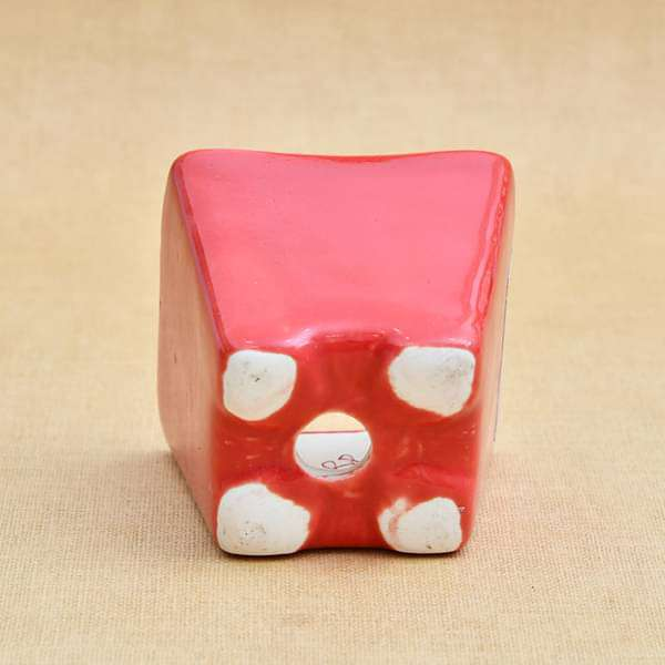 3 inch (8 cm) Square Cone Ceramic Pot (Red) (set of 3) - Nurserylive