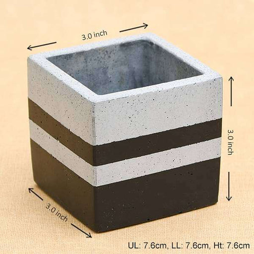 3 inch (8 cm) Square Faced Concrete Pot (Rustic Grey, Black) - Nurserylive