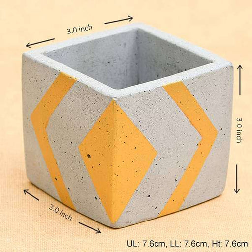 3 inch (8 cm)  Square Faced Concrete Pot (Rustic Grey, Golden) - Nurserylive